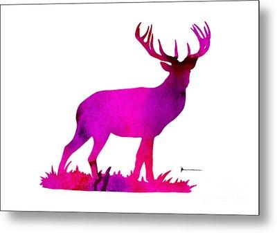 Deer Figurine Silhouette Poster Watercolor Art Print Metal Print