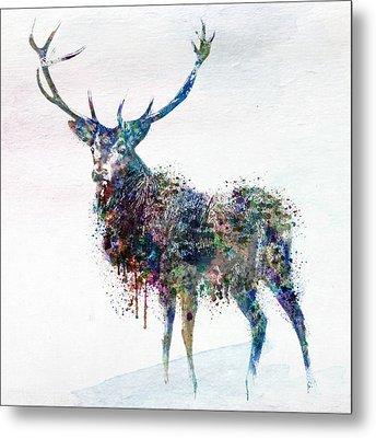 Deer In Watercolor Metal Print