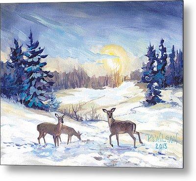 Deer In Winter Landscape  Metal Print by Peggy Wilson