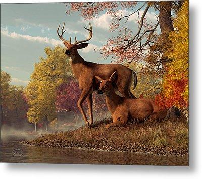 Deer On An Autumn Lakeshore  Metal Print by Daniel Eskridge