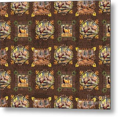 Deer Panel Pillow Design Metal Print