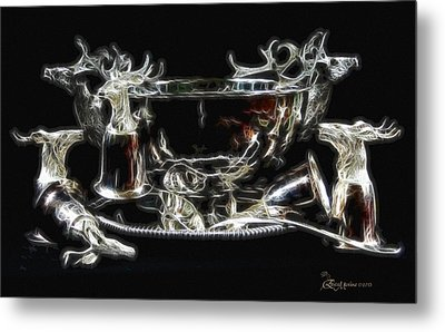 Deer Punch Bowl Set Metal Print by EricaMaxine  Price