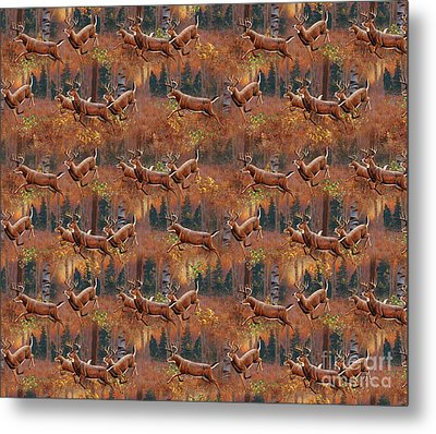 Deer Running Douvet Pillow Design Metal Print by Cynthie Fisher