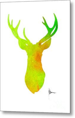 Deer Silhouette Art Print Painting Antlers Home Decor Metal Print
