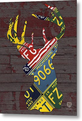 Deer With Antlers Michigan Recycled License Plate Art Metal Print