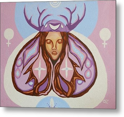 Deer Woman Metal Print