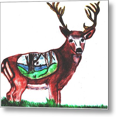 Deer World Metal Print by Shaunna Juuti