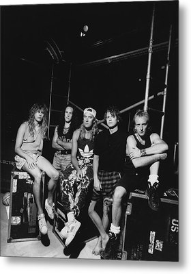 Def Leppard - Adrenalize Tour B&w 1992 Metal Print by Epic Rights