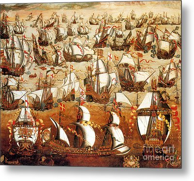 Defeat Of The Spanish Armada 1588 Metal Print by Photo Researchers