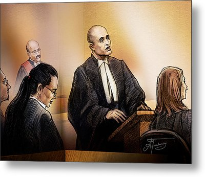 Metal Print featuring the painting Defence Lawyer Edward Sapiano At Jennifer Pan Trial by Alex Tavshunsky
