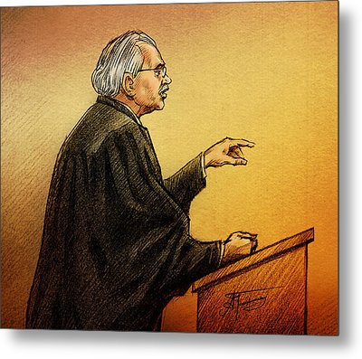 Metal Print featuring the drawing Defence Lawyer Robert Nuttall by Alex Tavshunsky