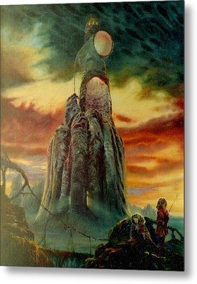 Metal Print featuring the painting Defenders Of Rocky Desert by Henryk Gorecki