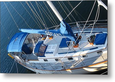 Defiant Sailboat Blues Metal Print by Patricia E Sundik