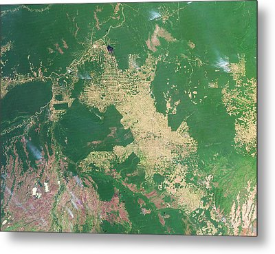 Deforestation In The Amazon Metal Print by Nasa Earth Observatoryscience Photo Library