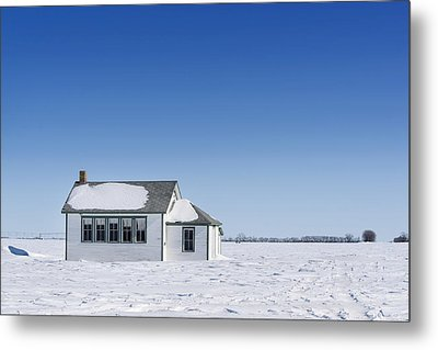 Defunct Country School Building In Winter Metal Print by Donald  Erickson