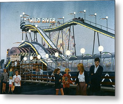 Del Mar Fair At Night Metal Print by Mary Helmreich