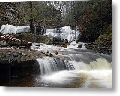 Delaware Falls Under April Morning Fog Metal Print