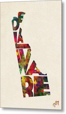 Delaware Typographic Watercolor Map Metal Print by Ayse Deniz