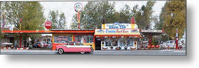 Delgadillo's Snow Cap Drive-in On Route 66 Panoramic Metal Print by Mike McGlothlen