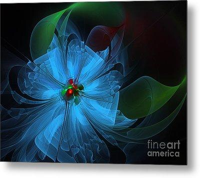 Delicate Blue Flower-fractal Art Metal Print
