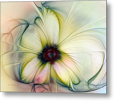 Delicate Flower Dream In Creme Metal Print
