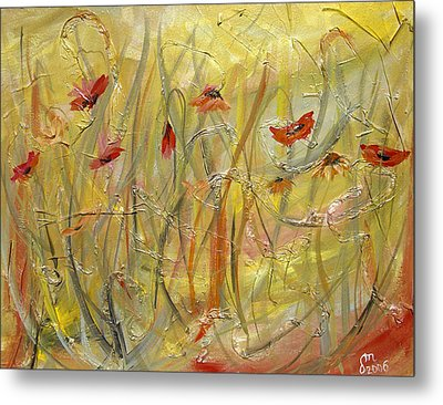 Metal Print featuring the painting Delicate Poppies by Dorothy Maier