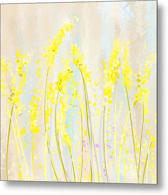 Delicately Soft- Yellow And Cream Art Metal Print by Lourry Legarde