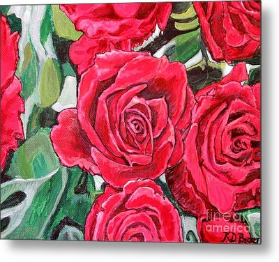 Metal Print featuring the painting Delight Of Grandma's Roses Painting by Kimberlee Baxter