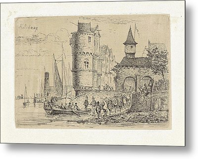 Delivery Of Passengers On A Ship, Henri Adolphe Schaep Metal Print by Henri Adolphe Schaep