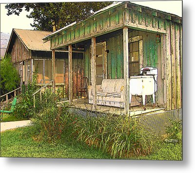Delta Sharecropper Cabin - All The Conveniences Metal Print by Rebecca Korpita