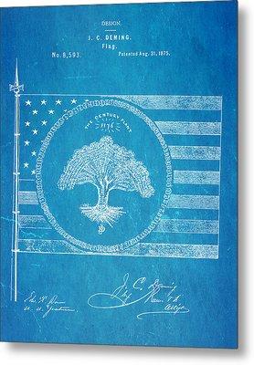 Deming Century Flag Patent Art 1875 Blueprint Metal Print by Ian Monk