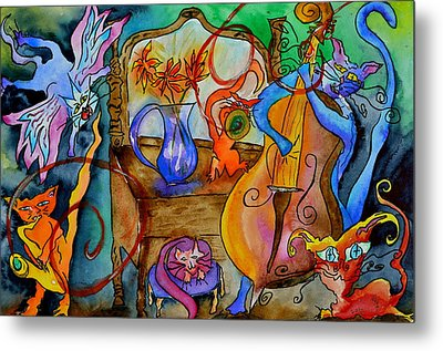 Demon Cats Metal Print by Beverley Harper Tinsley