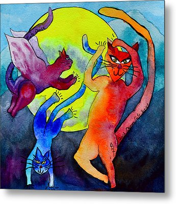 Demon Cats Dance By The Light Of The Moon Metal Print