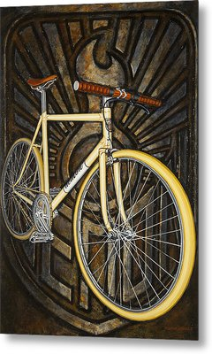 Metal Print featuring the painting Demon Path Racer Bicycle by Mark Howard Jones