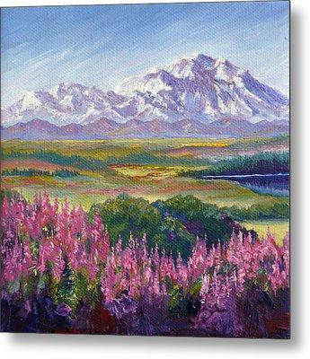 Denali And Fireweed Alaska Metal Print by Karen Mattson