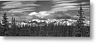 Denali In Clouds Metal Print