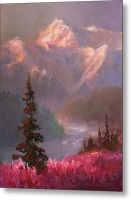Denali Summer - Alaskan Mountains In Summer Metal Print by Karen Whitworth