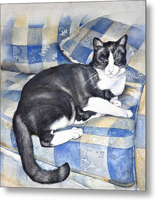 Metal Print featuring the painting Denise's Cat by Sandra Phryce-Jones
