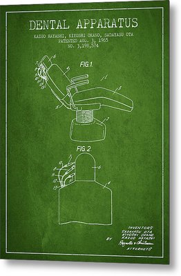 Dental Apparatus Patent From 1965 - Green Metal Print