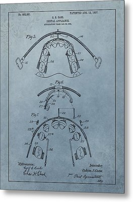 Dental Braces Patent Design Metal Print