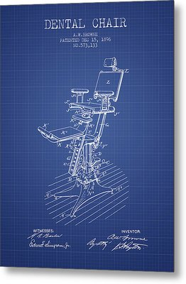 Dental Chair Patent Drawing From 1896 - Blueprint Metal Print