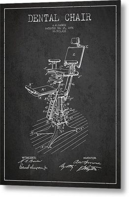 Dental Chair Patent Drawing From 1896 - Dark Metal Print