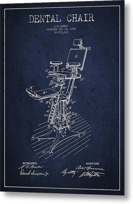 Dental Chair Patent Drawing From 1896 - Navy Blue Metal Print