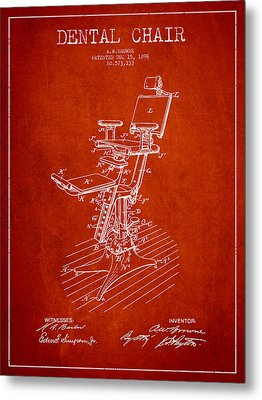 Dental Chair Patent Drawing From 1896 - Red Metal Print