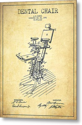 Dental Chair Patent Drawing From 1896 - Vintage Metal Print