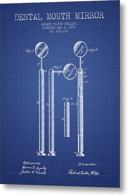 Dental Mouth Mirror Patent From 1892  - Blueprint Metal Print