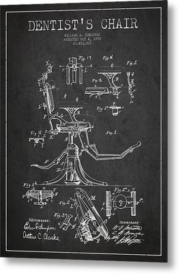 Dentist Chair Patent Drawing From 1892 - Dark Metal Print