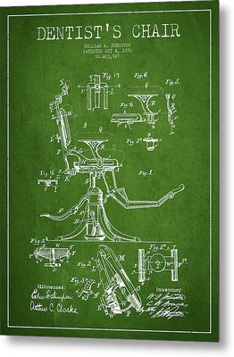 Dentist Chair Patent Drawing From 1892 - Green Metal Print