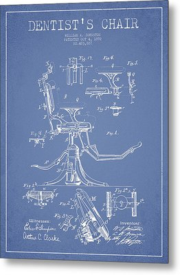 Dentist Chair Patent Drawing From 1892 - Light Blue Metal Print