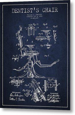 Dentist Chair Patent Drawing From 1892 - Navy Blue Metal Print